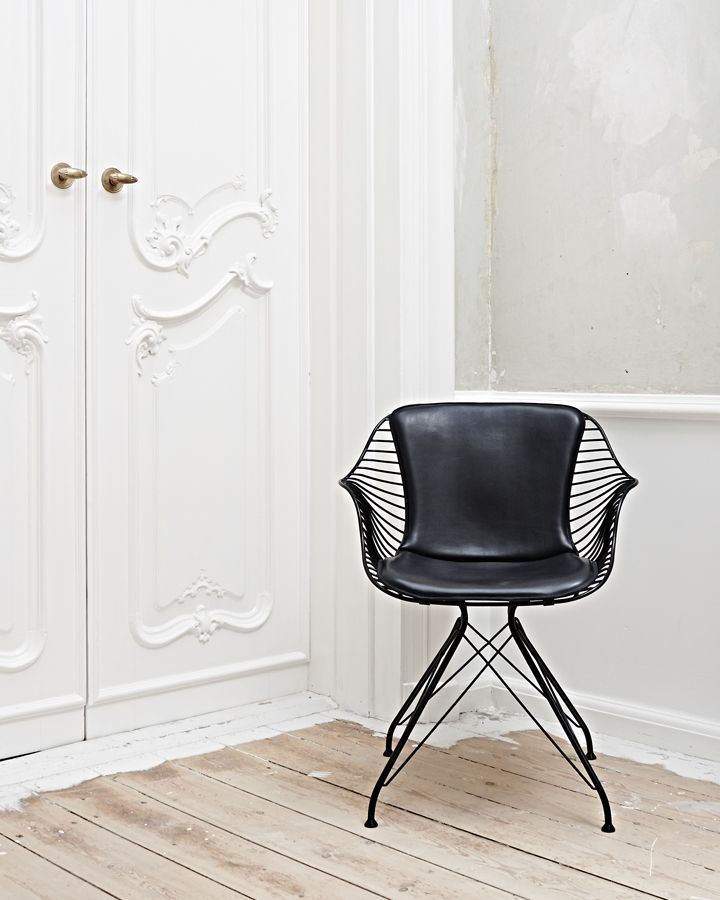 elegant black wire & leather dining chair, by oandd