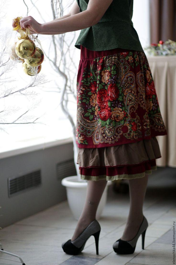 """Купить Юбка в русском стиле """"Браслет"""" - бордовый, цветочный, юбка, русский стиль, в русском стиле"""