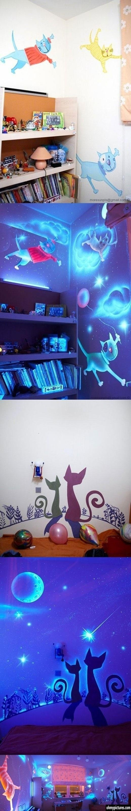 Fun with blacklight paint in the kids' room. This looks *so* cool!!