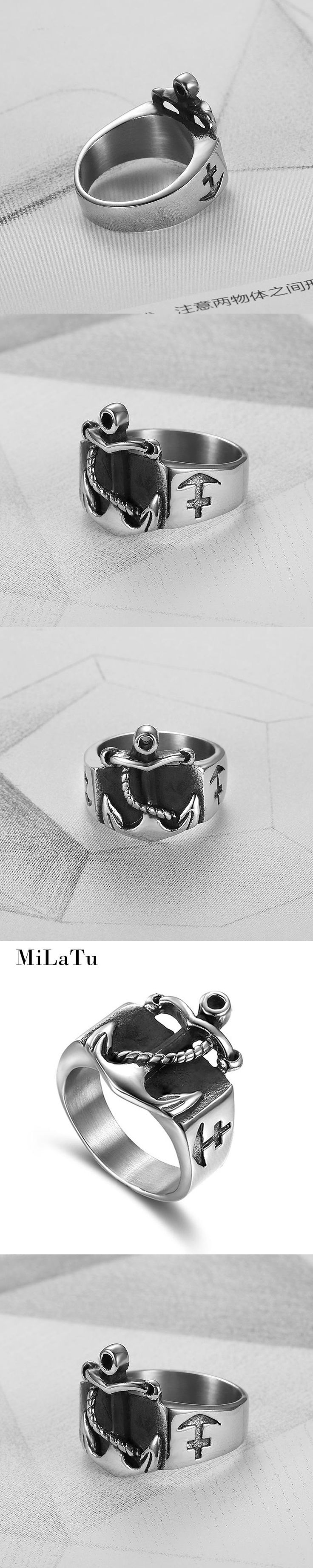 MiLaTu Brand Punk Anchor Rings Men Jewelry Stainless Steel Biker Casting Ring Vintage Male Jewelry US Size 7 to 13 R716G