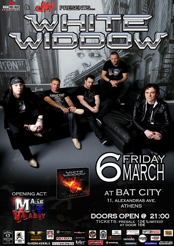 """High Voltage Produtions & Bat City presents """"WHITE WIDDOW"""" Live @ Bat City 6 ΜΑΡΤΙΟΥ 2015 