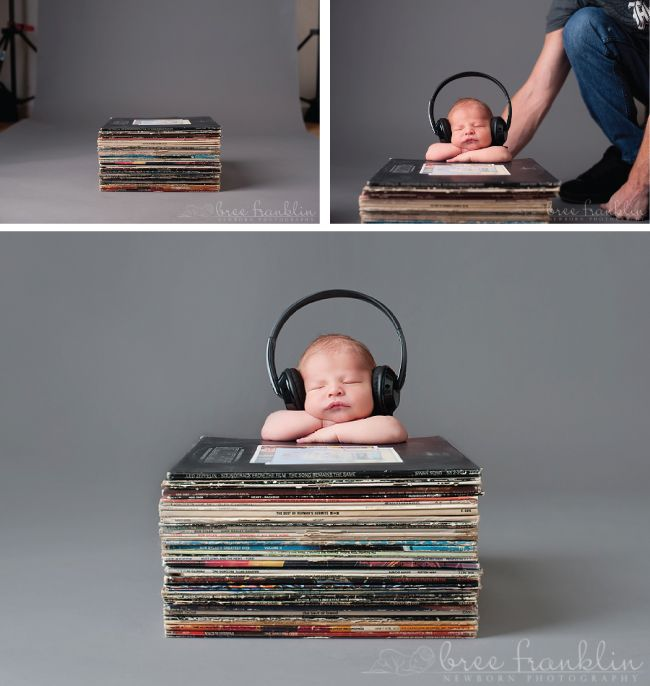 The following images were sent to us courtesy of Bree Franklin Photography. Her creative newborn photos below are centered around the concept of music. Notice how she puts safety first in her imagery and uses the technique of compositing images to achieve her final vision.