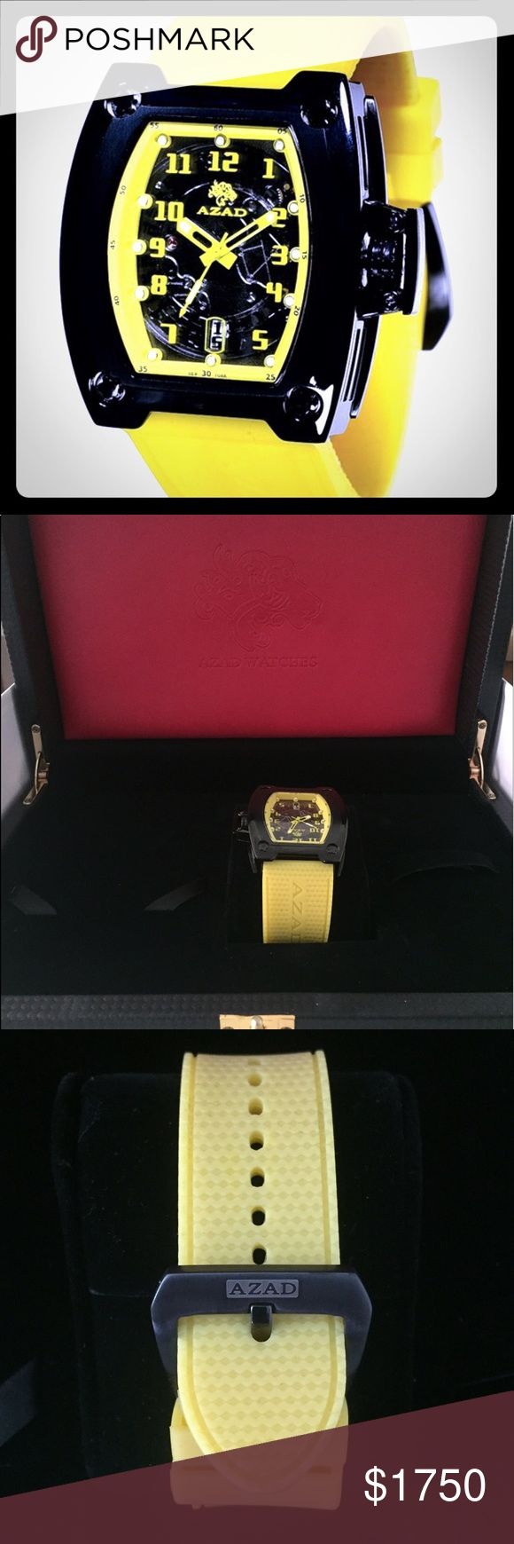 Azad Limited Edition Ice Yellow Dial Watch, New! A brand new, in box, never worn Azad Limited Edition Ice Yellow Dial Watch. Comes with beautiful wood box and all other original packaging. Sells on World's Best for $2,195. https://www.worldsbest.com/watches/1417818731/azad-ice-yellow-dial-watch Azad Accessories Watches