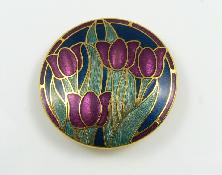 Cloisonne Enamel and 22K Gold Plated Tulip Brooch by Fish Enamels