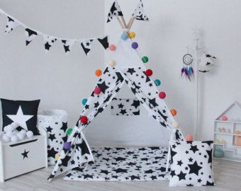 BLACK ARROWS and Natural Canvas Teepee Play Tent by AshleyGabby