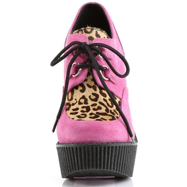 Demonia CREEPER-304 Pink Wedge Shoe (1,100 EGP) ❤ liked on Polyvore featuring shoes, pink shoes, platform wedge shoes, creeper shoes, wedge heel shoes and leopard wedge shoes