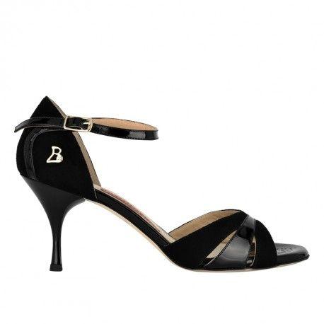 A3 Camoscio nero / Vernice nero Heel 7