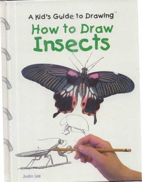 """Justin Lee. """"How To Draw Insects""""    Описывается, как рисовать различных насекомых, в том числе муравьев, шмелей, бабочек, стрекоз, божьих коровок, богомолов."""
