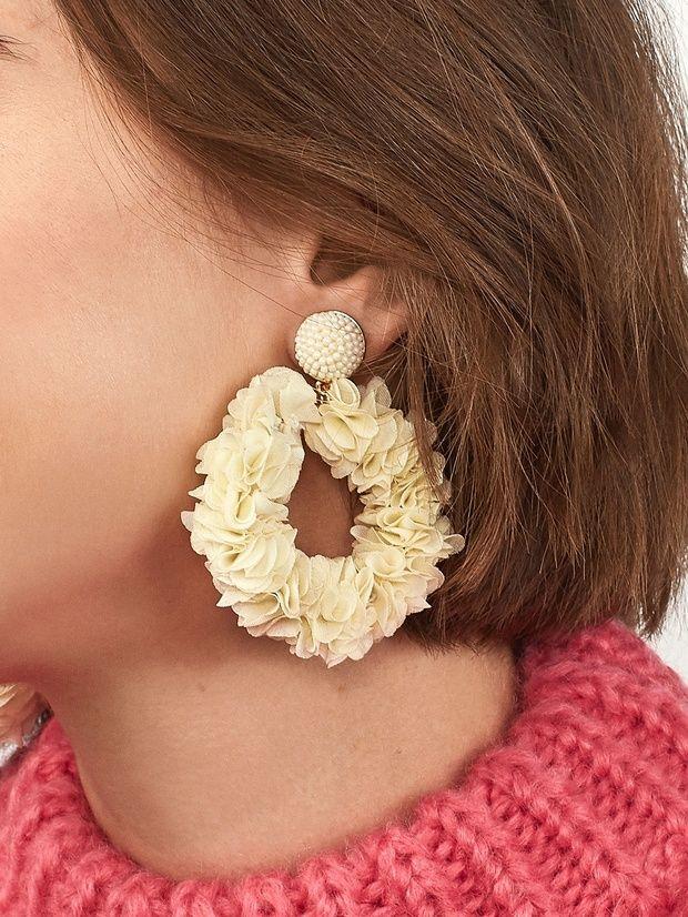 Camellia Flower Hoop Earrings Camellia Flower Earrings Hoop Earrings