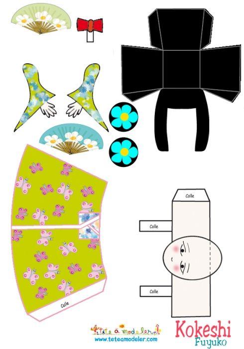 coloriage Fuyuko, Kokeshi japonnaise