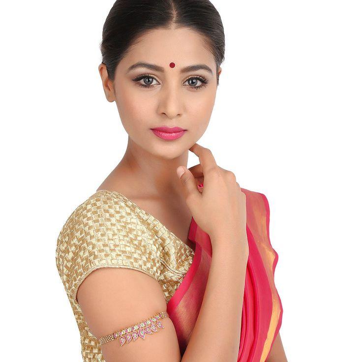 Zircon Bajuband 44436RG #Kushals #Jewellery #Fashion #Indian #Jewellery #Wedding #Accessories #BajuBand #Zircon #Festive