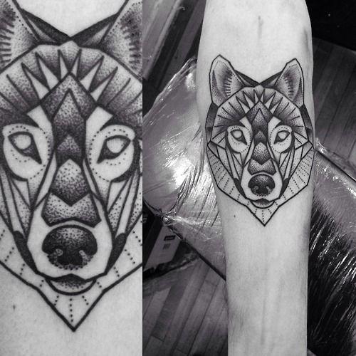 Geometric Wolf Tattoo Macarena Sepulveda