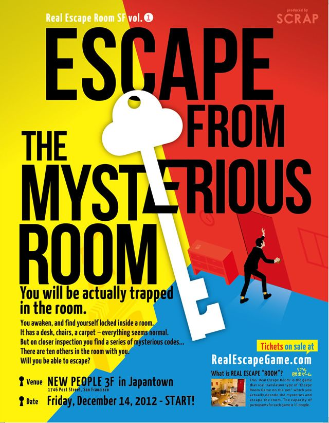 Escape from the Mysterious Room – Real Escape Room SF | Real Escape Game in the U.S | SCRAP Entertainment Inc. $28/person