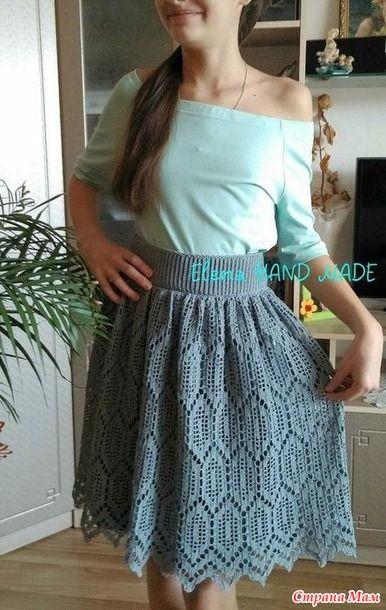 Всем доброго времени суток! Гуляя по просторам интернета нашла юбку. Делюсь с вами схемой.  Всем хорошего настроения, вдохновения и легких петелек!