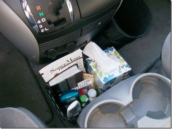 organized center console + other car organizing tips