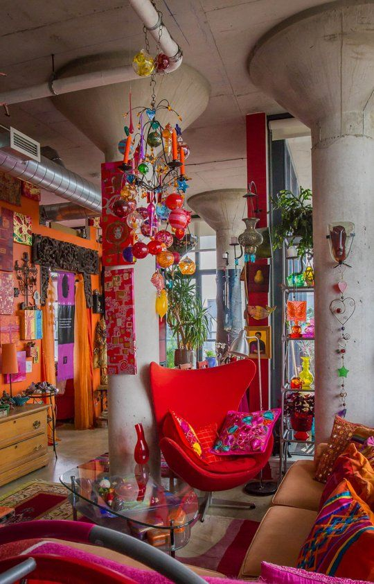 Karen Racicot/Artist: Color Explosion — House Tour. 2 of the main walls are made of glass. Slide show