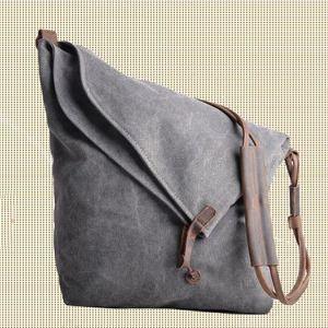 Gray Genuine Cow leather bag canvas bag   BACKPACK Leather Briefcase / leather   Messenger bag / Laptop bag / Men's leather   canvas Bag (6631)