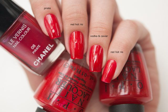 Opi Red Hot Rio Vs Chanel Pirate Nail Pinterest Opi Red Opi And Manicure