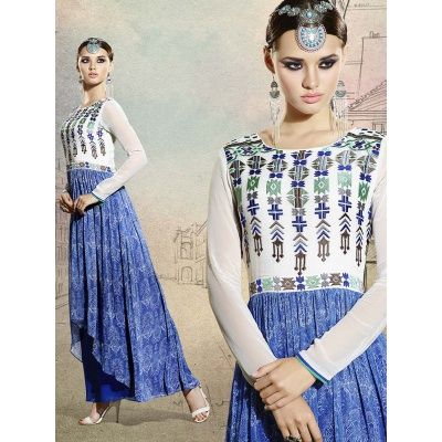Beleaguer Blue Color Georgette Semi Stitched Kurti comes with Santoon Silk Inner. This Kurti Designed with Printed work. This Semi Stitched Kurti size 2 Mtr.