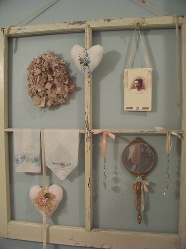 I have some old window panes from my mawmaw's house. Weird but they're sentimental to me. I've wanted to use them & wondered what I can do w/ them.
