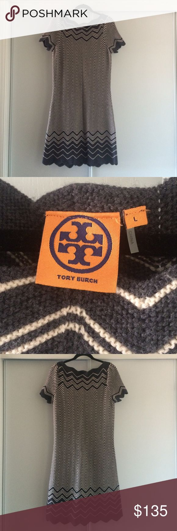 "Tory Burch Zig Zag Large Knit Sheath Dress Excellent condition. Worn once. 100% Merino Wool. SZ L. Bust 18"" Length 37"" Tory Burch Dresses Midi"