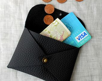 Leather Card Wallet, Credit Card Holder, Coin Purse, Mens Card Wallet, Mens Gift. Minimalist Wallet, 3rd Leather Anniversary