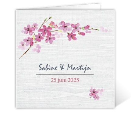 Trouwkaartje Japanse bloesem
