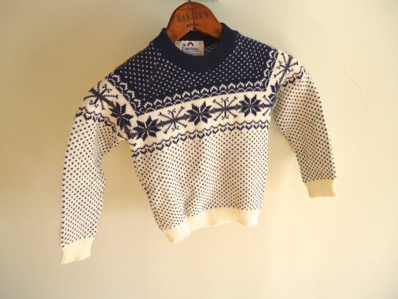 Kids Ski Sweater Nordic Vintage blue and White by GnarlyNutmeggers, $18.00
