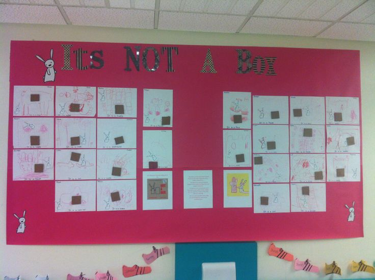 Not a Box Kindergarten Bulletin Board: Kids drew pictures that mimicked the book Not a Box.