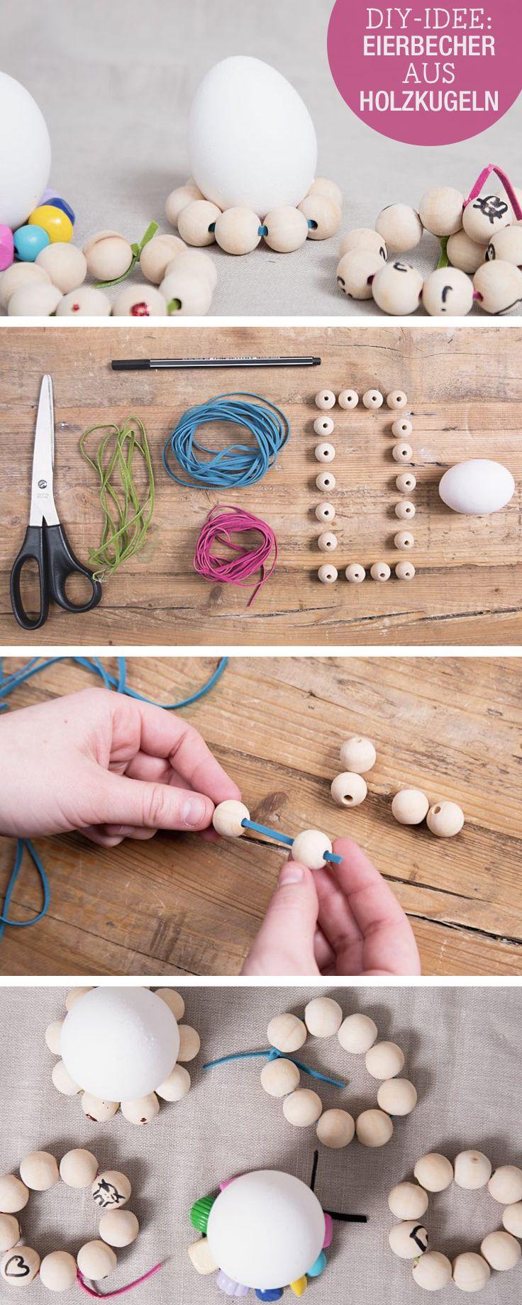 DIY-Anleitung für Osterdeko: Eierhalter aus Holzkugeln selbermachen / easter diy tutorial: wooden egg holder via DaWanda.com