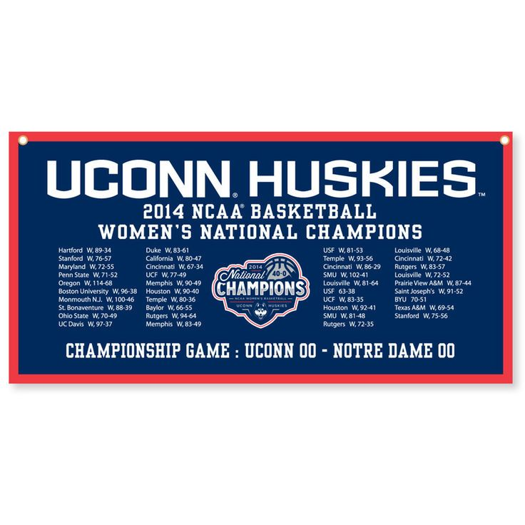 "UConn Huskies 2014 NCAA Women's Basketball National Champions 18"" x 36"" Horizontal Schedule Banner - $24.99"