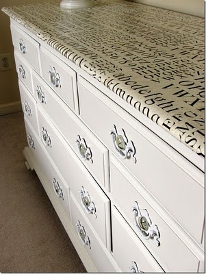 Would love to do this to my parents old dresser.  Maybe use a copy of their marriage certificate and copies of notes my Dad has written, he writes everything down.  MUST DO THIS