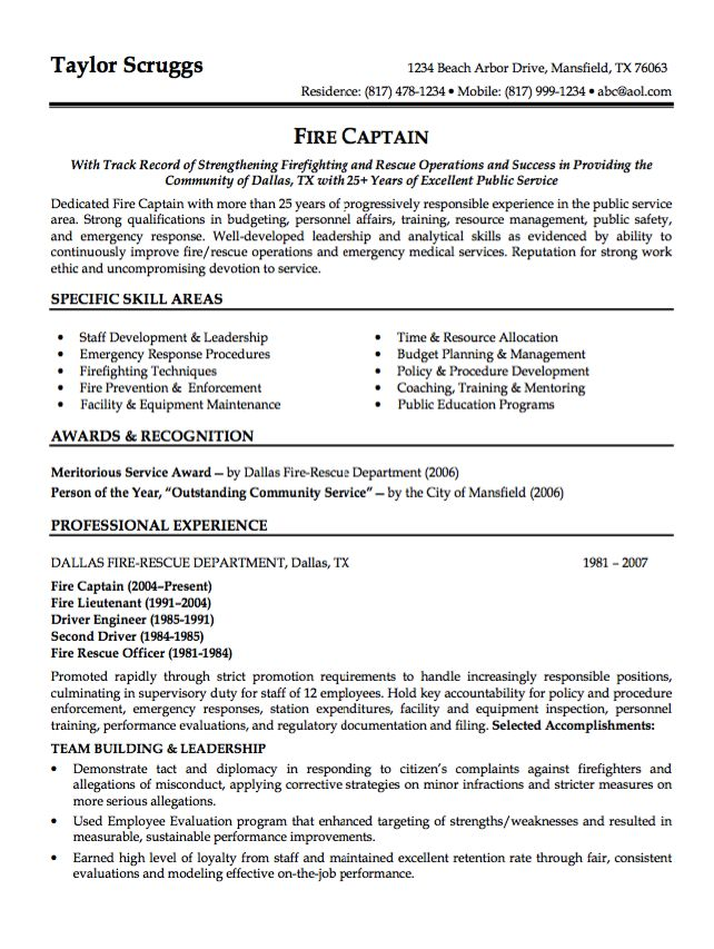 Sample Resume Fire Captain - http\/\/resumesdesign\/sample - fire training officer sample resume