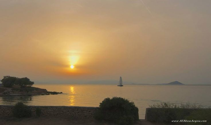 Romantic sunset in Aegina