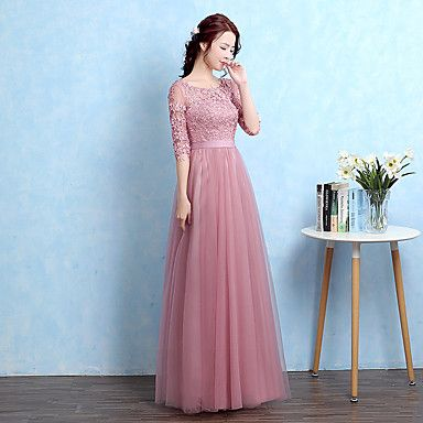 Formal+Evening+Dress+A-line+Scoop+Floor-length+Tulle+with+Appliques+–+USD+$+85.49