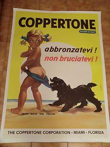 COPPERTONE Abbronzatevi non bruciatevi! manifesto pubbl. anni '60