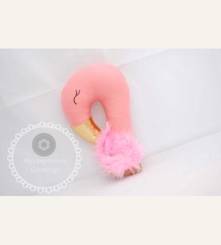 Μπομπονιέρα βάπτισης  φλαμίνγκο υφασμάτινο , χειροποίητο με φτερά στο λαιμό    FLamingo