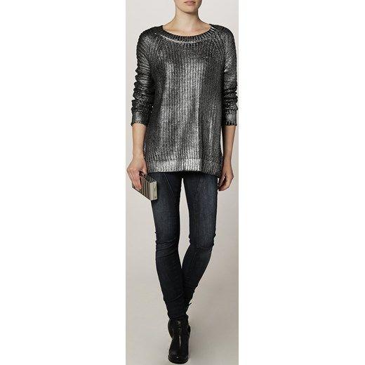 Brigitte Bardot Sweter srebrny zalando szary wycięcie