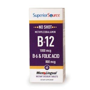 No Shot B12/ B6 and Folic Acid 60 Tablets by Superior Source. $8.16. 60 Tablets. Serving Size: 1. 60 Servings Per Container. No Shot Methylcobalamin B12/B6/Folic Acid 800mcgNo Shot Methylcobalamin Vitamin B12/Vitamin B6 w/Folic Acid Sublingual Micro Tablets go to work fast, bypassing the digestive system as they are quickly absorbed directly into the body under the tongue. Other forms of Vitamin B12 supplementation can result in a loss of as much as 50% of Vita...