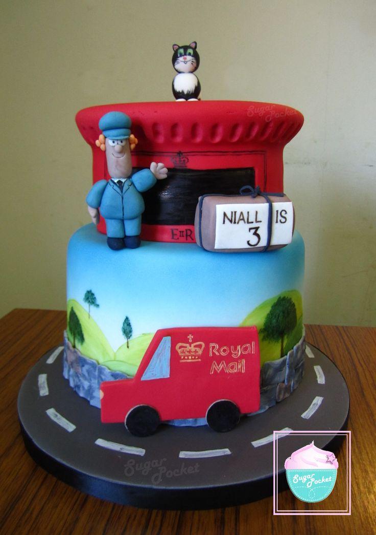 #cake #tiered #postmanpat #jessthecat #cat #pat #royalmail #postman #mailvan #birthday #postbox  #daytoremember #sugarpocket
