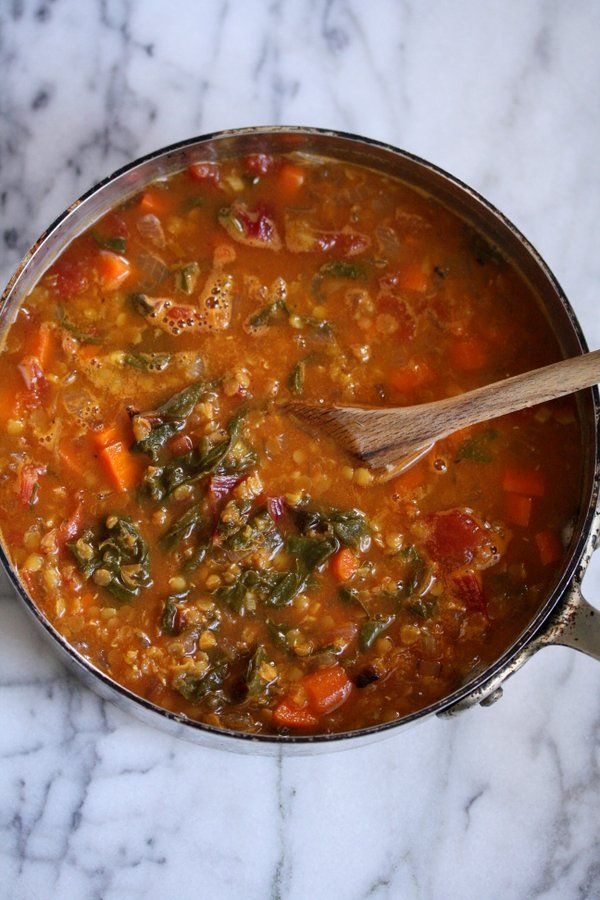 Moroccan Red Lentil Soup with Chard | Easy, Vegetarian, Simple, Healthy from FeedMePhoebe.com