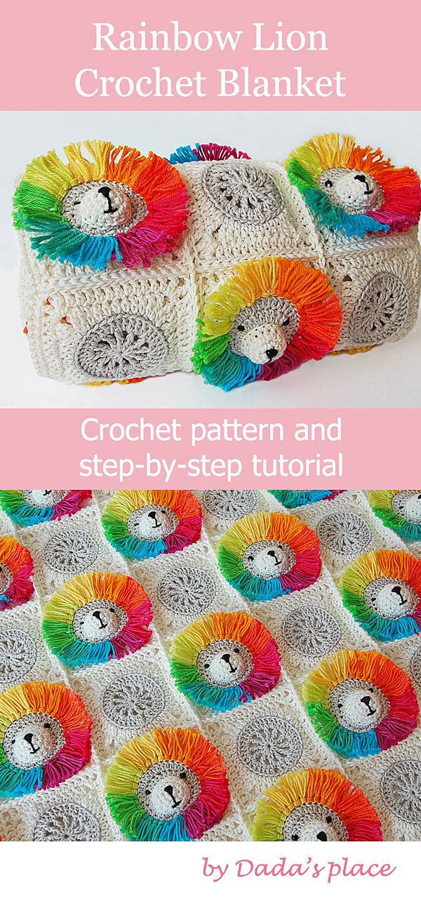 Very cute Rainbow Lion Crochet Baby Blanket pattern, with lots of step-by-step p…