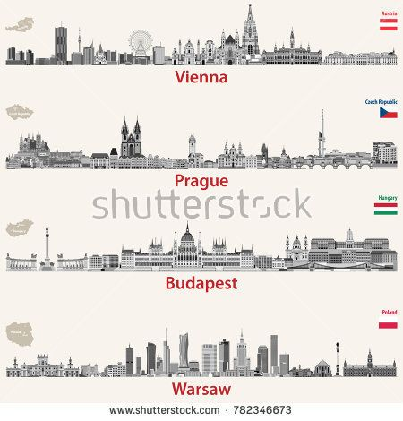 vector abstract city skylines of Vienna, Prague, Budapest and Warsaw. Maps and flags of Austria, Czech Republic, Budapest and Poland.