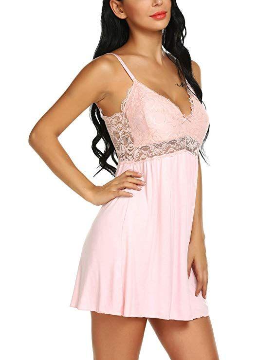 Ababoon Women Lace Modal Sleepwear Chemises V-Neck Full Slip Babydoll  Nightgown at Amazon Women s Clothing store   828afa5e9