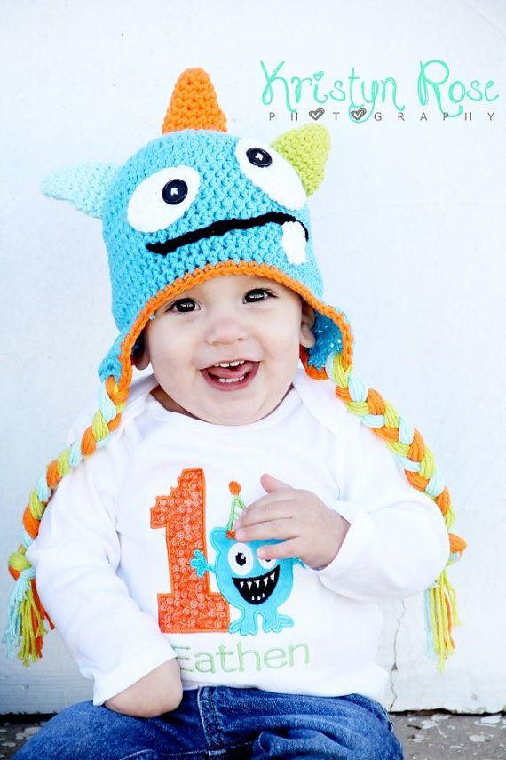 Crochet Monster Hat Blue Green Orange Halloween Costume Newborn Photography Prop