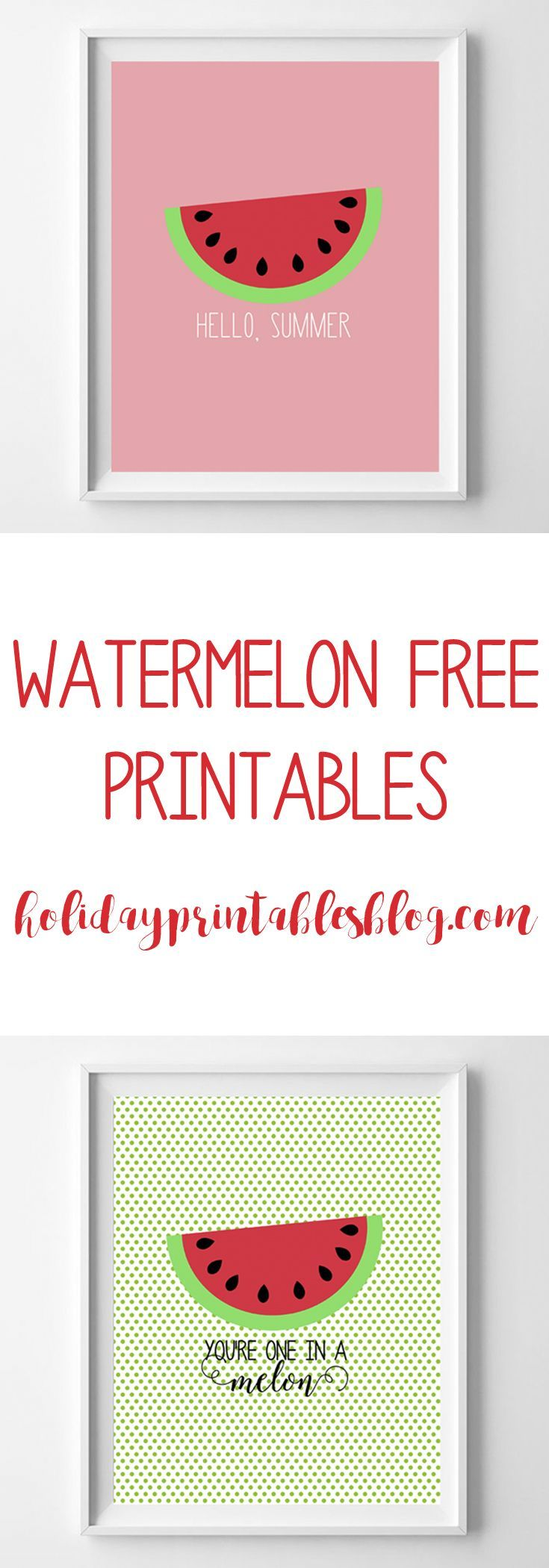 Free watermelon printables! Easy and inexpensive summer decor!