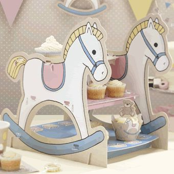 Rocking horse cupcake stand for baby showers or first birthdays http://www.gingerray.co.uk/RB-408_Rocking-Horse-3-Tier-Cake-Stand-Rock-a-bye-Baby.html