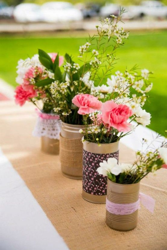 Tin can and burlap decorations flowers pinterest