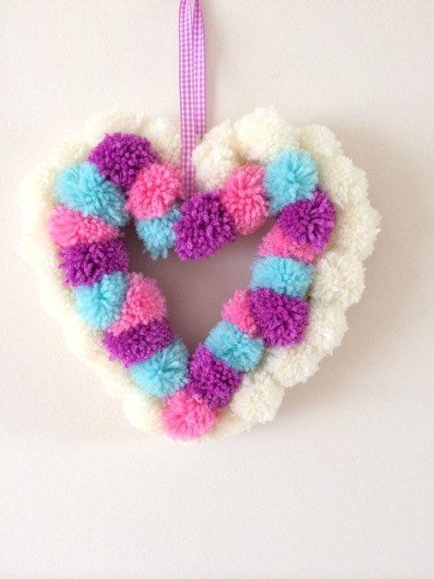 Pom Pom Heart Wreath by pippaandcoco