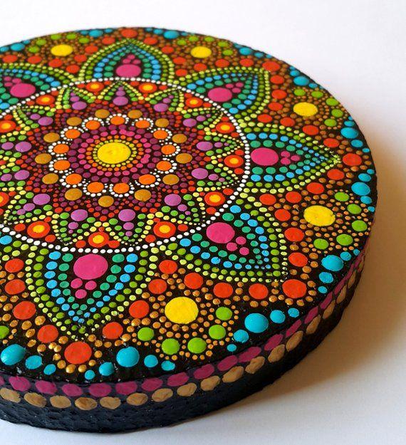 Original Gemalde Mandala Zen Heiligen Geometrie Acrylmalerei Abstrakte Malerei Meditation Achtsamkeit Di Mandala Rock Art Mandala Design Art Mandala Painting